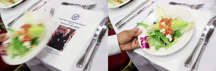 A combination photo shows a food server placing a salad atop a picture of U.S. former Vice President Joe Biden before he delivers remarks at the First State Democratic Dinner in Dover, Delaware