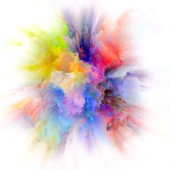 Acceleration of Colorful Paint Splash Explosion