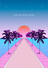 Nostalgic seaside pastel modern. Vintage style background. View with road and palm trees. Vaporwave, Synthwave style illustration