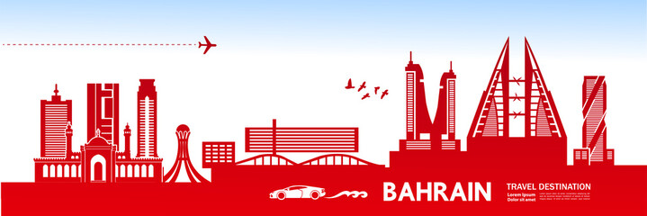 Fotomurales - BAHRAIN travel destination vector illustration.