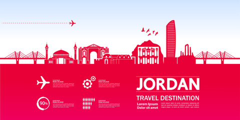 Fototapete - Jordan travel destination vector illustration.