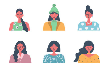 People icons. Six different portraits of women in flat design. Different hair styling and clothing. Vector illustration
