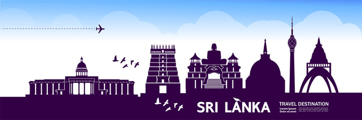 Fotomurales - Sri Lanka travel destination vector illustration.