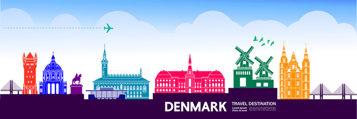 Fototapete - DENMARK travel destination vector illustration.