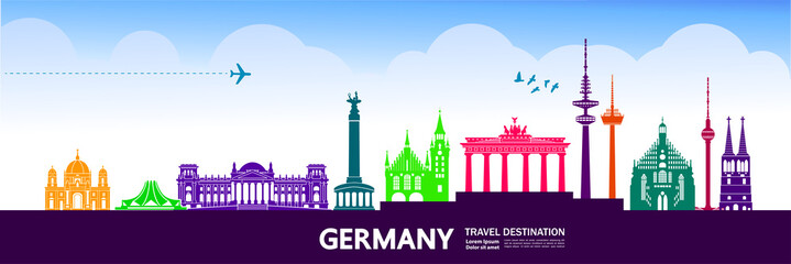 Fototapete - Germany travel destination vector illustration.