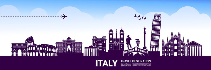 Fotomurales - ITALY travel destination vector illustration.