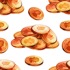 Seamless money pattern. Falling coins isolated on white background. Golden rain. Flying coins. Simple beautiful cartoon design