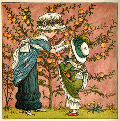 Two Girls Picking Apples From a Tree
