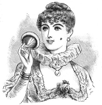 Lady Powders Her Cheeks