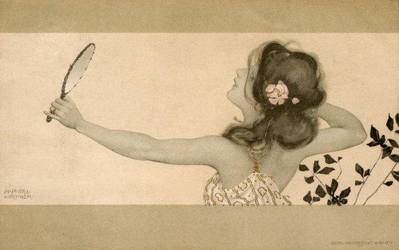 Raphael Kirchner Art Nouveau Reflection in a Mirror