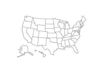 Blank outline detail United States of America Map