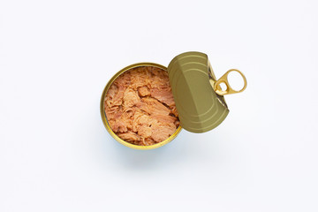 Canned tuna fish on white