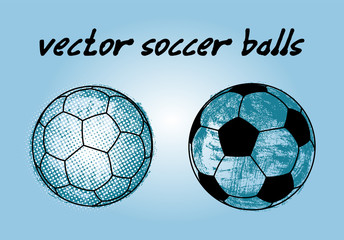 Vector soccer balls in graphic style for design