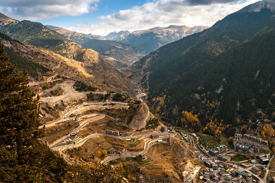 Aerial view of Canillo in Andorra. The Principality of Andorra is a sovereign landlocked microstate, located in the eastern Pyrenees mountains and bordered by Spain and France