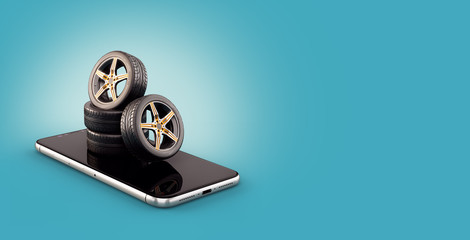 Unusual 3d illustration of car tires on a smartphone screen. Tire Size Calculator. Choosing and buying tires online concept.