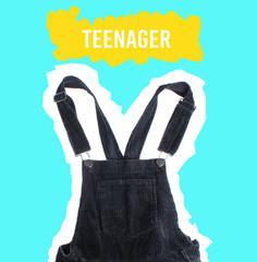 Teenager concept. Velveteen overalls on blue background. Zine style. Pop Art