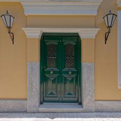 vintage house green door, Athens Greece, Anafiotika neighborhood