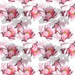 Background flowers, seamless pattern, hand painted