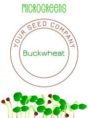 Microgreens Buckwheat. Seed packaging design, text, vegan food