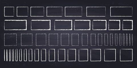 Chalk drawn squares and rectangles. Hand drawn geometric figures on chalkboard background.