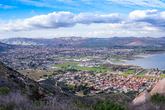 View on the city of Lake Elsinore, Southern California USA