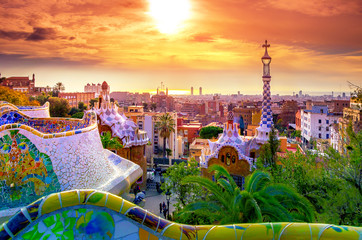 Fotobehang Barcelona View of the city from Park Guell in Barcelona, Spain