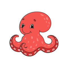 Octopus. Cute flat vector illustration in childish cartoon style. Funny character. Isolated on white background.
