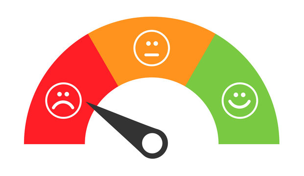 Customer icon emotions satisfaction meter with different symbol on background