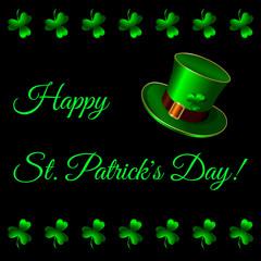 Happy St. Patricks Day. Green hat, Belt buckle, shamrock clover