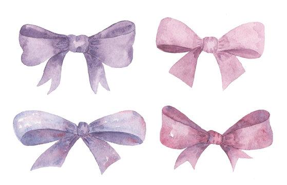 Watercolor set of bows.