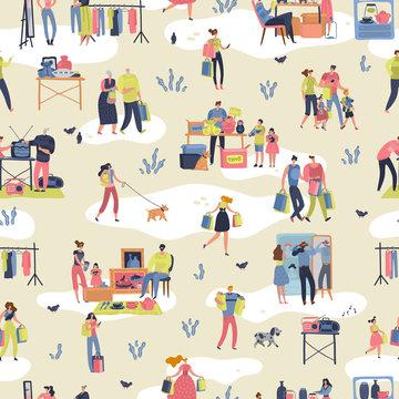 Flea market. People shopping second hand stylish goods clothes swap meet bazaar texture. Fleas market seamless pattern