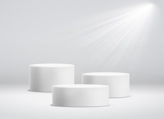White cylinder template. 3d base stand podium or studio pedestal round platform showroom vector illustration