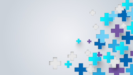 Abstract blue and purple Medical crosses sign background