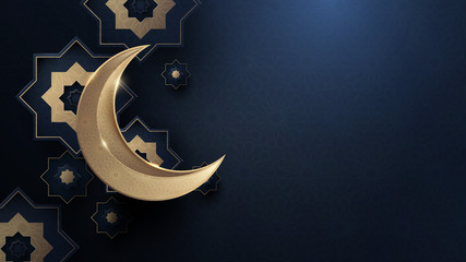 Ramadan Kareem. Gold moon and abstract luxury islamic elements background