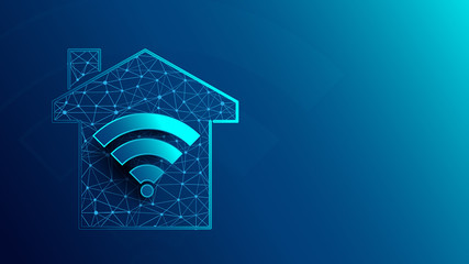 Smart house with WiFi icon icons from lines, triangles and particle style design. Illustration vector