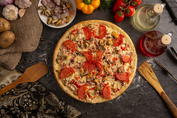 Seafood pizza for a restaurant menu.