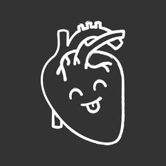 Smiling human heart anatomy chalk icon
