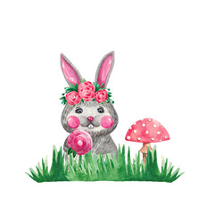 Watercolor illustration of a cute rabbit with flowers in green grass mushroom on white isolated background Hand drawing of forest animal for poster cloth paper Wallpaper