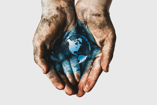 Hands of a child with dirty water. Epidemic, viruses, bacteria in water, diseases of dirty hands. Problems of environmental pollution ecology