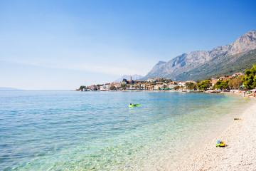 Gradac, Dalmatia, Croatia - Overview across the beautiful bay of Gradac
