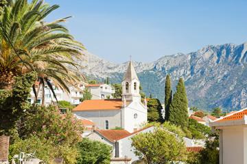 Brist, Dalmatia, Croatia - Church of Brist in front of the mountains