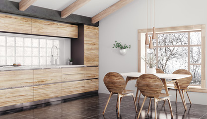 Modern wooden kitchen interior 3d rendering