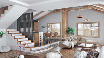 Modern interior design of house, kitchen, living room with sofa, staircase 3d rendering