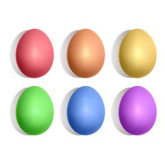 Colorful Easter eggs on a light background, realistic illustration