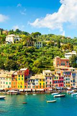 Foto auf Gartenposter Ligurien Beautiful sea coast in Portofino, Italy