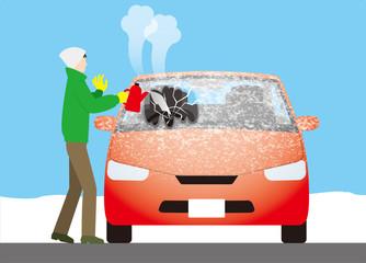 自動車のフロントガラスについた霜をお湯で溶かすのは危険
