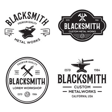 Blacksmith labels set. Design elements for metalworks service emblems, badges, logos. Monochrome seal collection.
