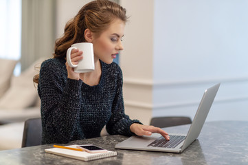 Beautiful young smiling woman working on laptop and drinking coffee