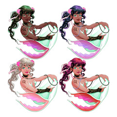 In de dag Kinderkamer Group of mermaids with different skin and hair colors