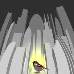 World Sparrow Day. Sparrow on the background of the cityscape.